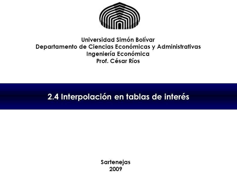 2.4 Interpolación en tablas de interés