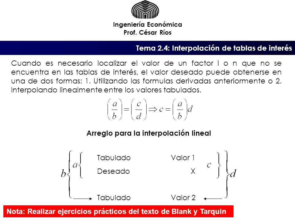 Arreglo para la interpolación lineal