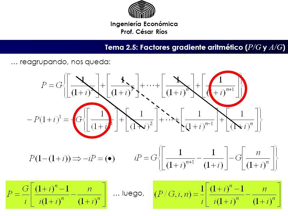Tema 2.5: Factores gradiente aritmético (P/G y A/G)