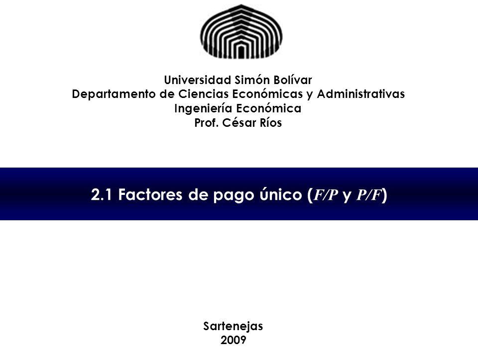 2.1 Factores de pago único (F/P y P/F)