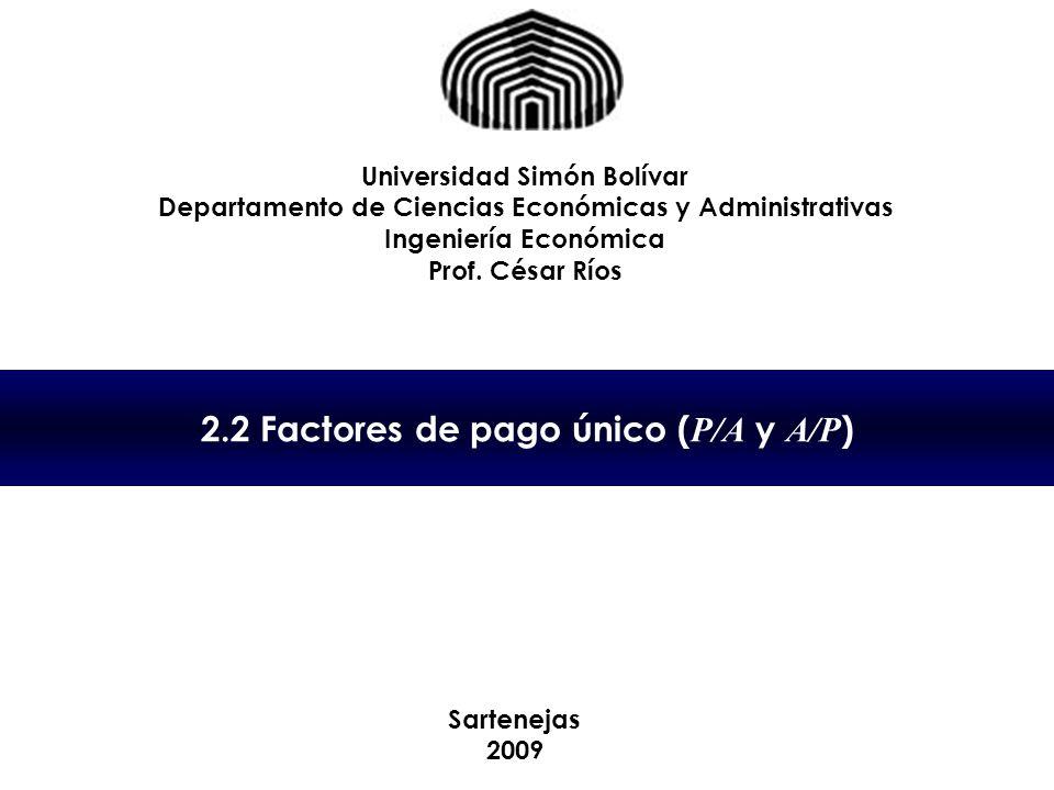 2.2 Factores de pago único (P/A y A/P)