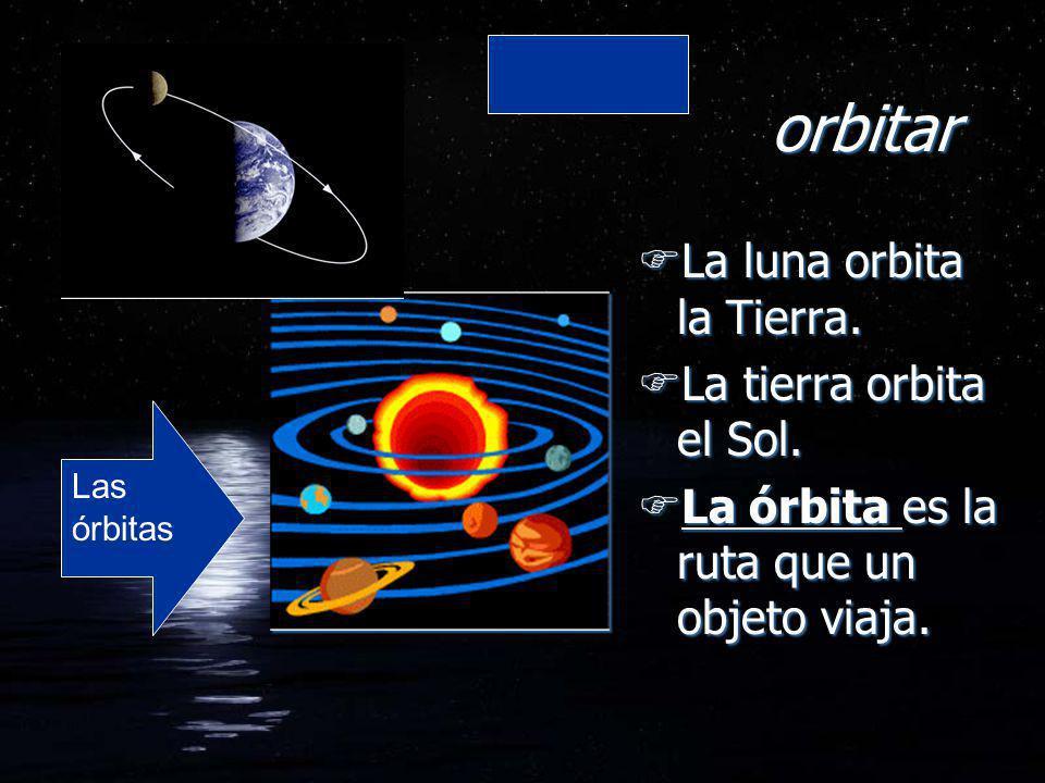 orbitar La luna orbita la Tierra. La tierra orbita el Sol.