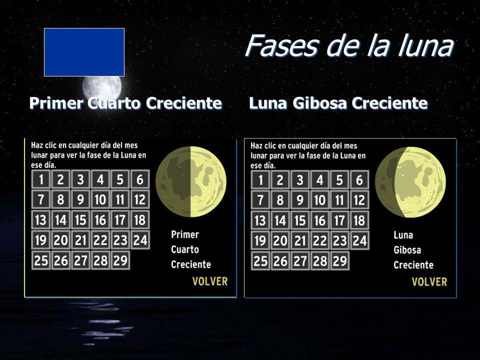 Fases de la luna Primer Cuarto Creciente Luna Gibosa Creciente