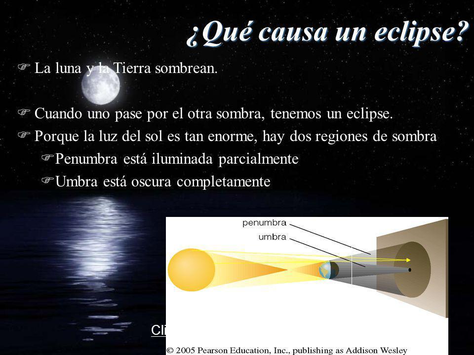 ¿Qué causa un eclipse La luna y la Tierra sombrean.