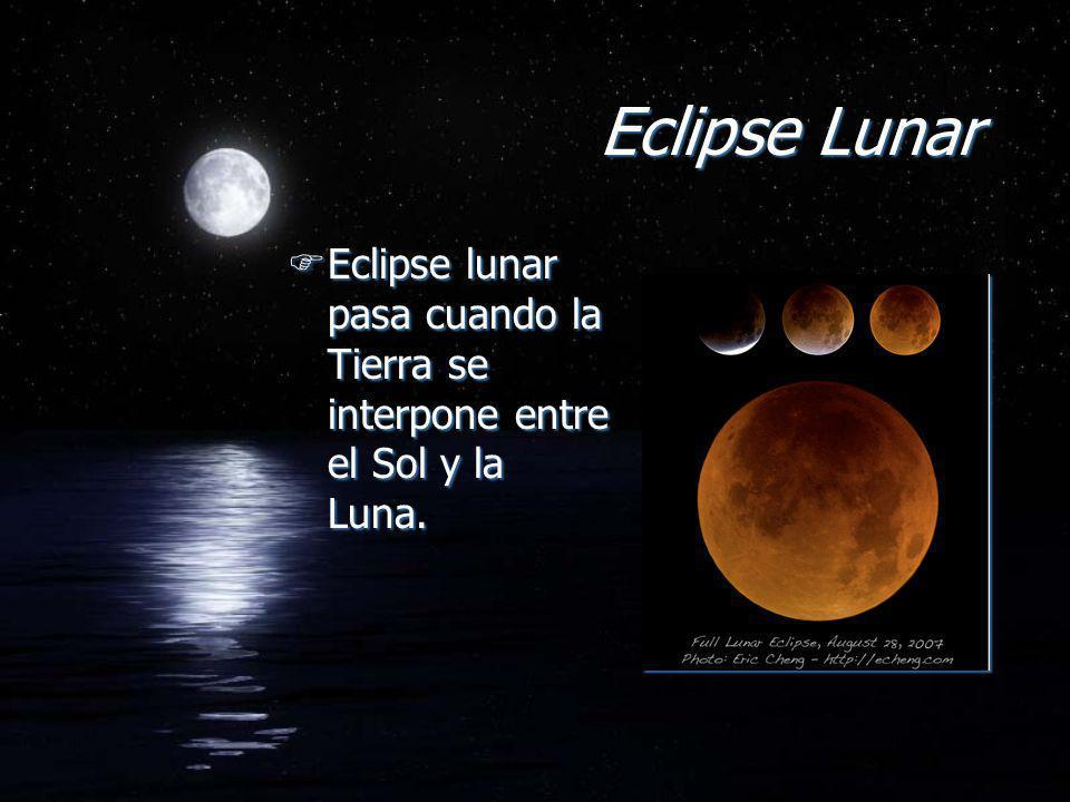 Eclipse Lunar Eclipse lunar pasa cuando la Tierra se interpone entre el Sol y la Luna.