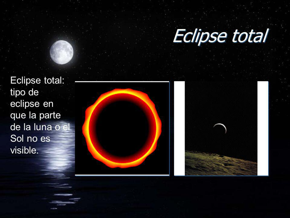 Eclipse total Eclipse total: tipo de eclipse en que la parte de la luna o el Sol no es visible.
