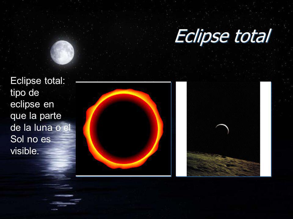 Eclipse total Eclipse total: tipo de eclipse en que la parte de la luna o el Sol no es visible.