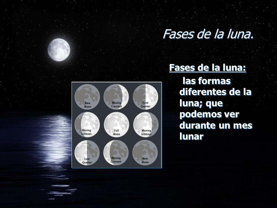 Fases de la luna. Fases de la luna:
