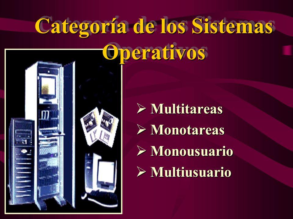 Categoría de los Sistemas Operativos