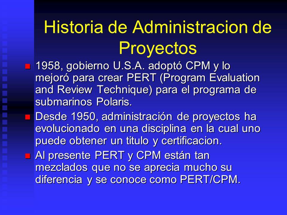 Historia de Administracion de Proyectos