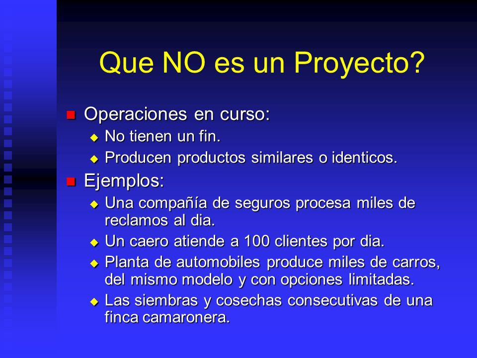 Que NO es un Proyecto Operaciones en curso: Ejemplos: