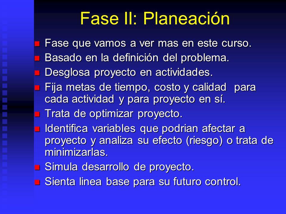 Fase II: Planeación Fase que vamos a ver mas en este curso.