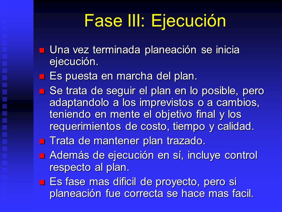 Fase III: Ejecución Una vez terminada planeación se inicia ejecución.