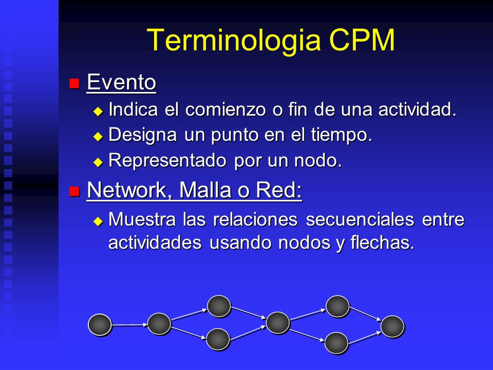 Terminologia CPM Evento Network, Malla o Red: