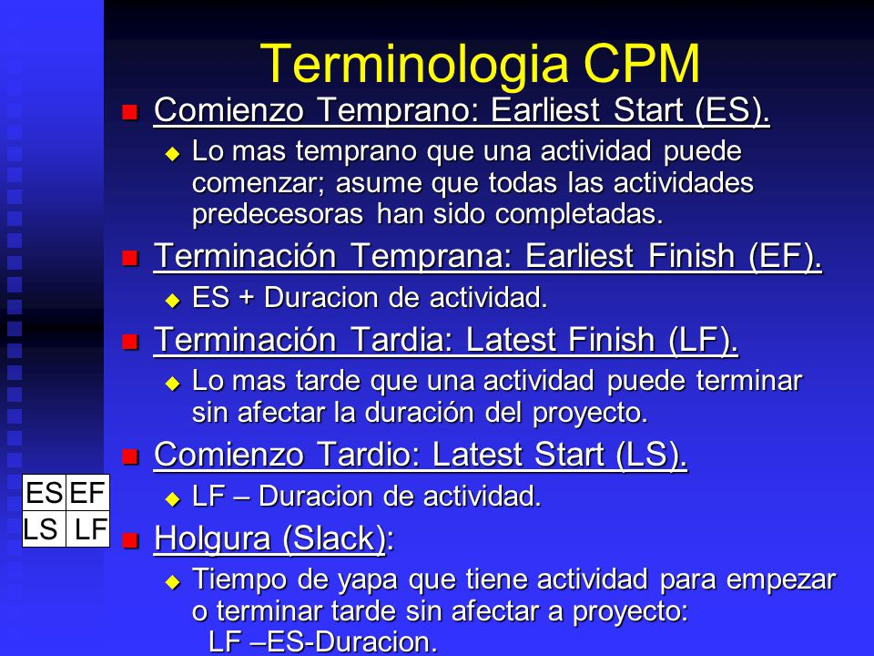 Terminologia CPM Comienzo Temprano: Earliest Start (ES).