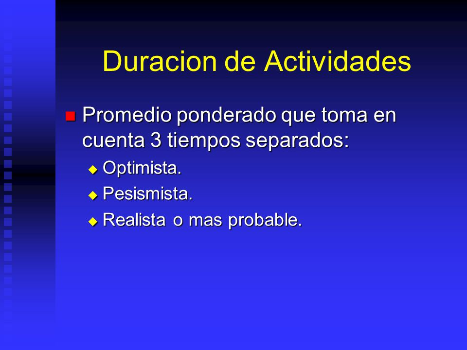 Duracion de Actividades