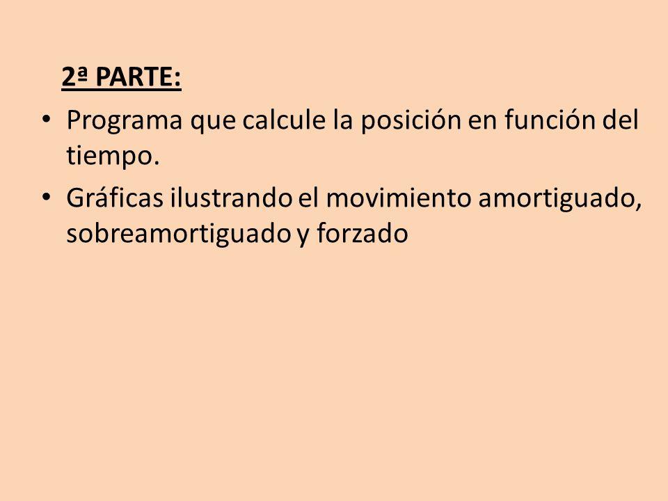 2ª PARTE: Programa que calcule la posición en función del tiempo.