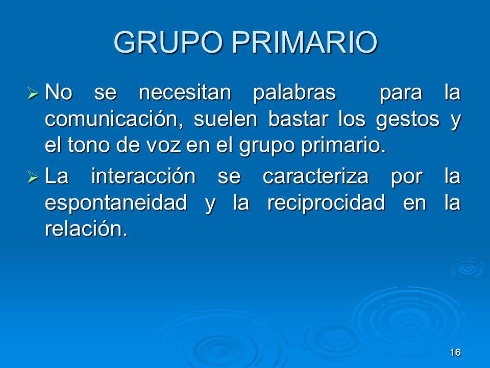 GRUPO PRIMARIO No se necesitan palabras para la comunicación, suelen bastar los gestos y el tono de voz en el grupo primario.