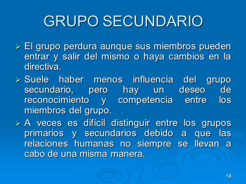GRUPO SECUNDARIO El grupo perdura aunque sus miembros pueden entrar y salir del mismo o haya cambios en la directiva.