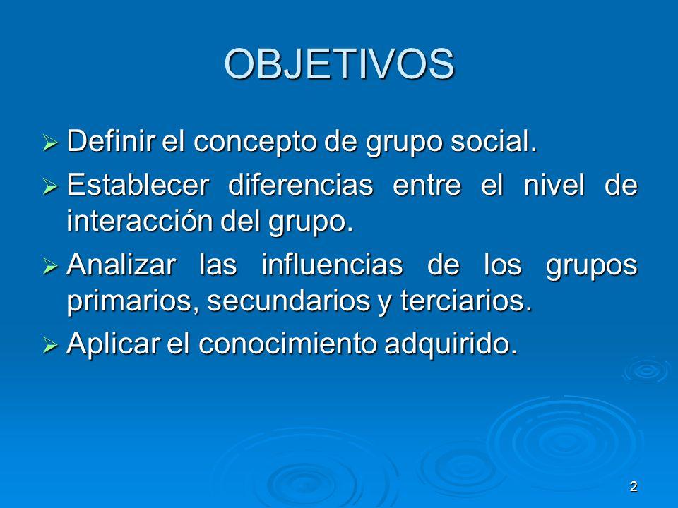 OBJETIVOS Definir el concepto de grupo social.