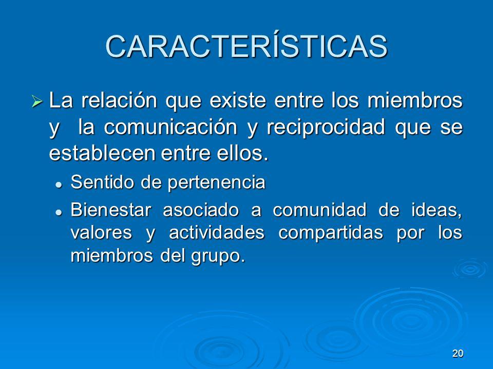 CARACTERÍSTICAS La relación que existe entre los miembros y la comunicación y reciprocidad que se establecen entre ellos.