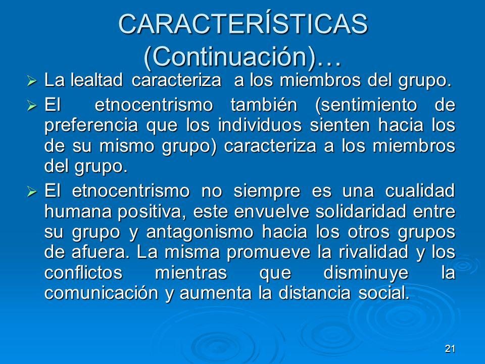 CARACTERÍSTICAS (Continuación)…