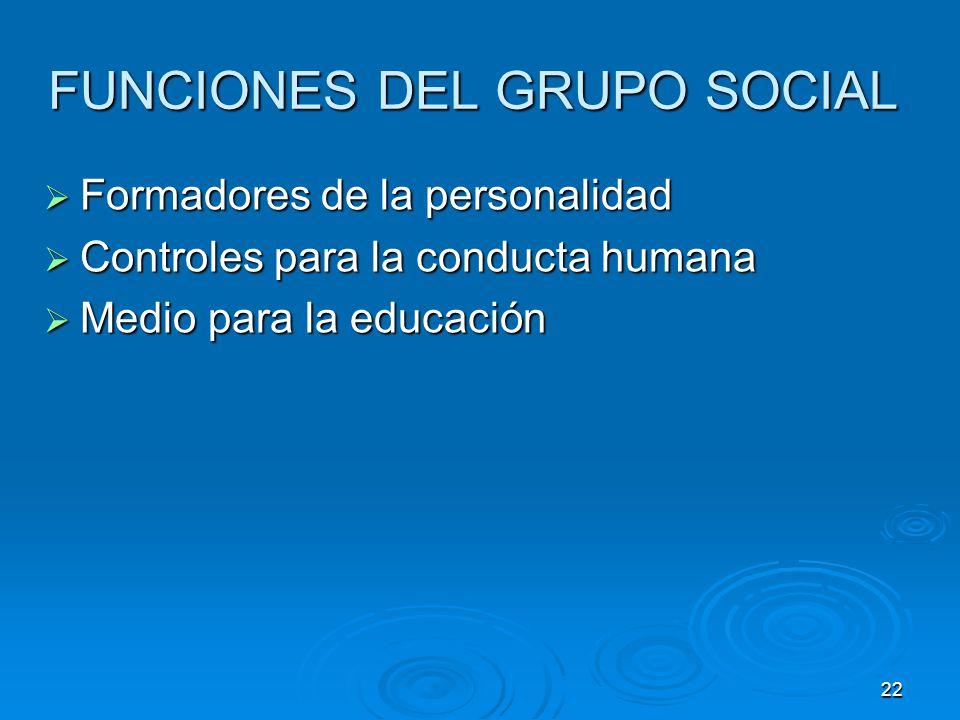 FUNCIONES DEL GRUPO SOCIAL
