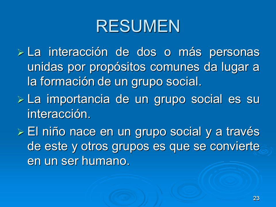 RESUMEN La interacción de dos o más personas unidas por propósitos comunes da lugar a la formación de un grupo social.