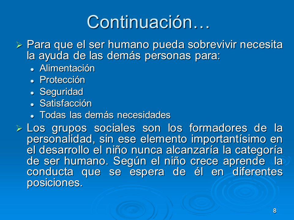 Continuación… Para que el ser humano pueda sobrevivir necesita la ayuda de las demás personas para: