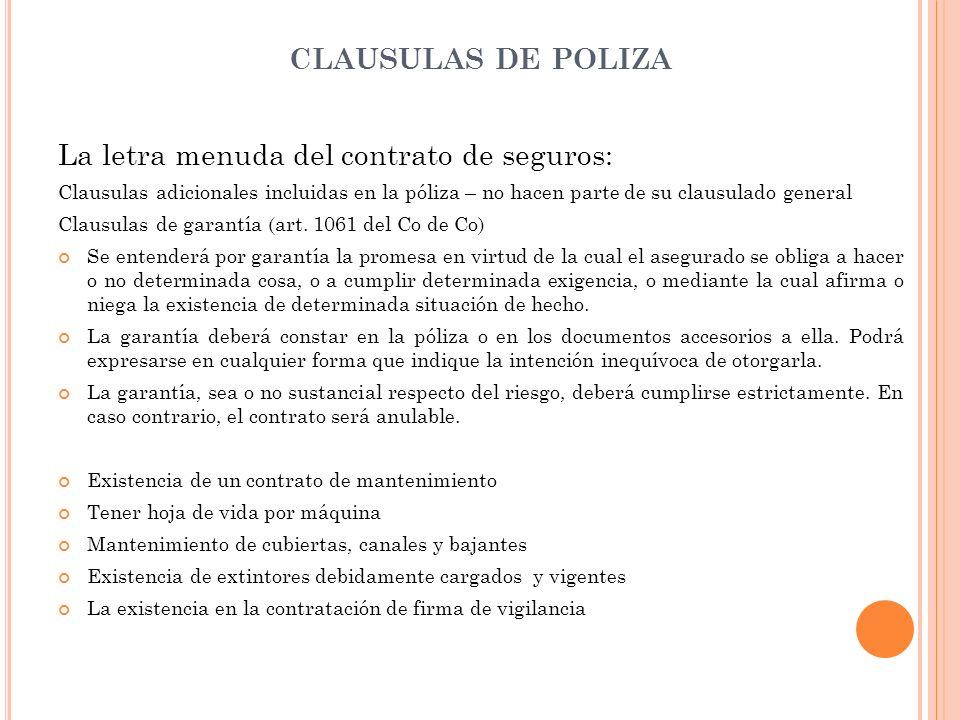 La letra menuda del contrato de seguros: