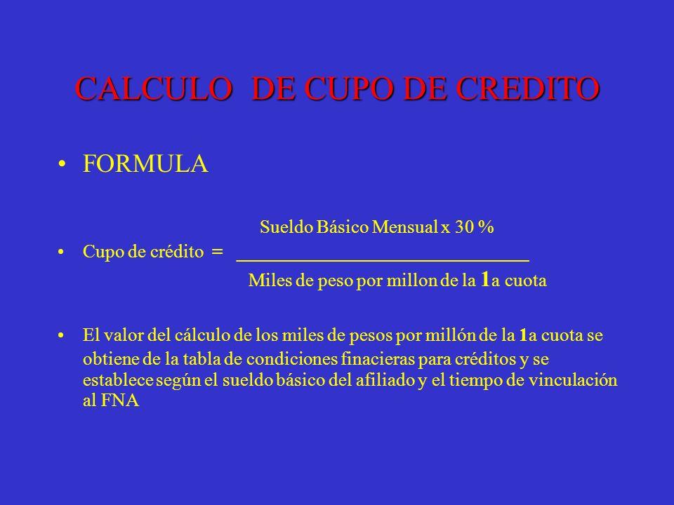 CALCULO DE CUPO DE CREDITO
