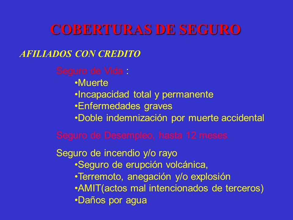 COBERTURAS DE SEGURO AFILIADOS CON CREDITO Seguro de Vida : Muerte