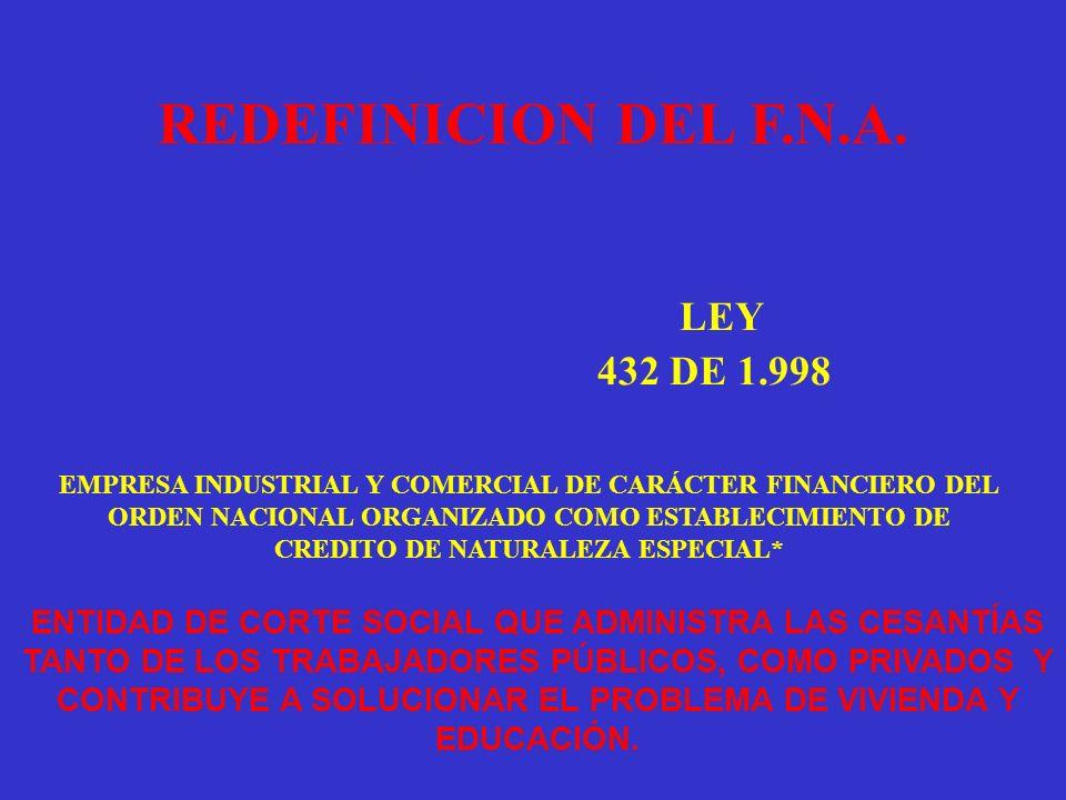LEY REDEFINICION DEL F.N.A. 432 DE 1.998