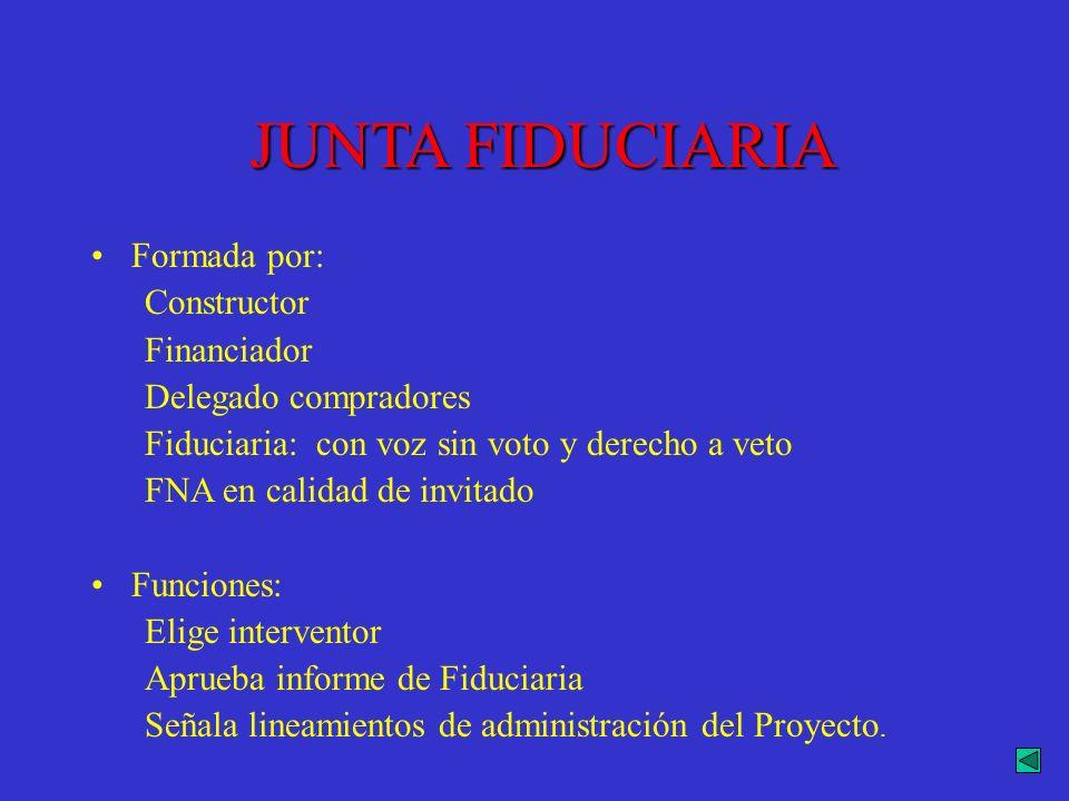 JUNTA FIDUCIARIA Formada por: Constructor Financiador