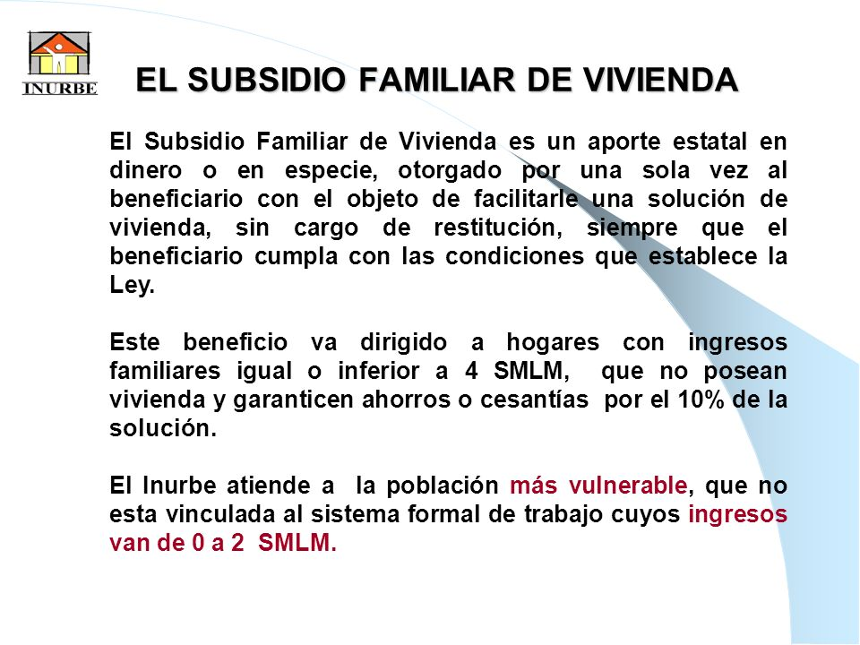 EL SUBSIDIO FAMILIAR DE VIVIENDA