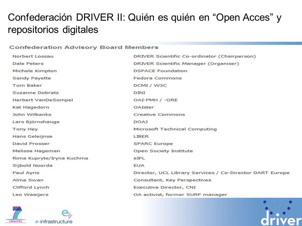 Confederación DRIVER II: Quién es quién en Open Acces y repositorios digitales