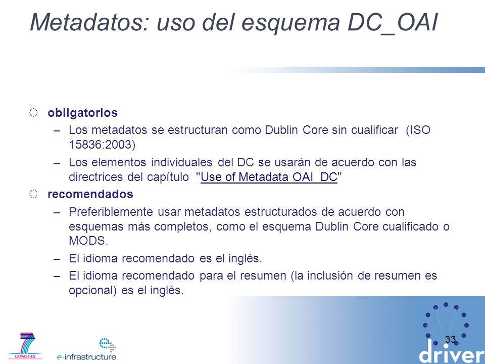 Metadatos: uso del esquema DC_OAI