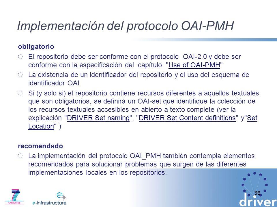 Implementación del protocolo OAI-PMH