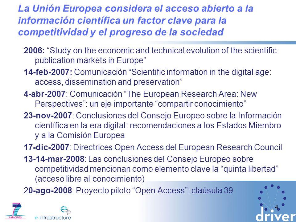 La Unión Europea considera el acceso abierto a la información científica un factor clave para la competitividad y el progreso de la sociedad