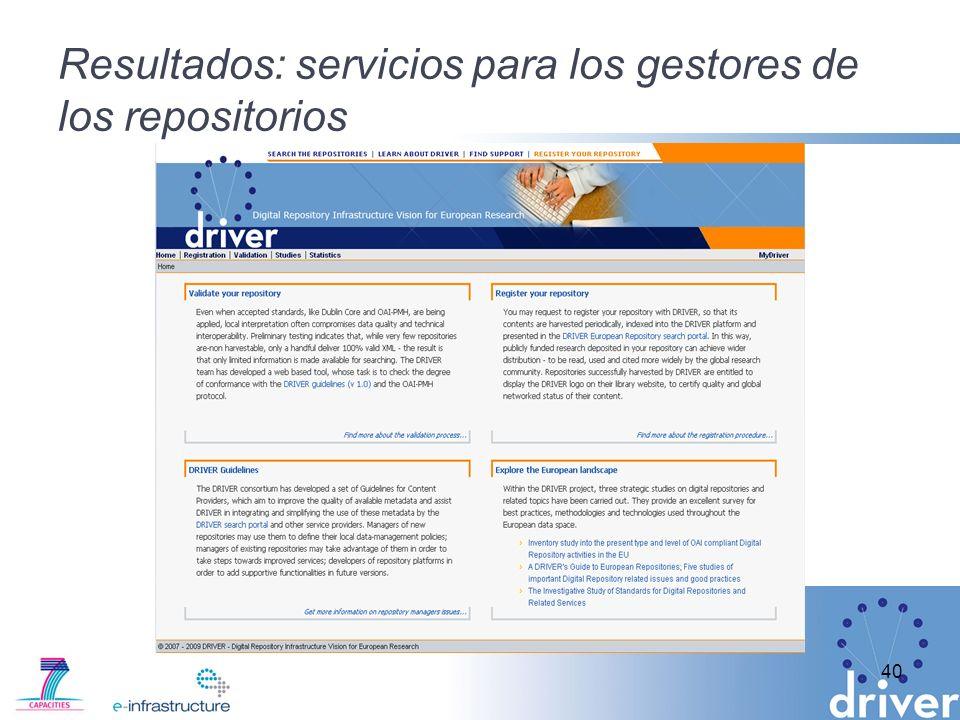 Resultados: servicios para los gestores de los repositorios