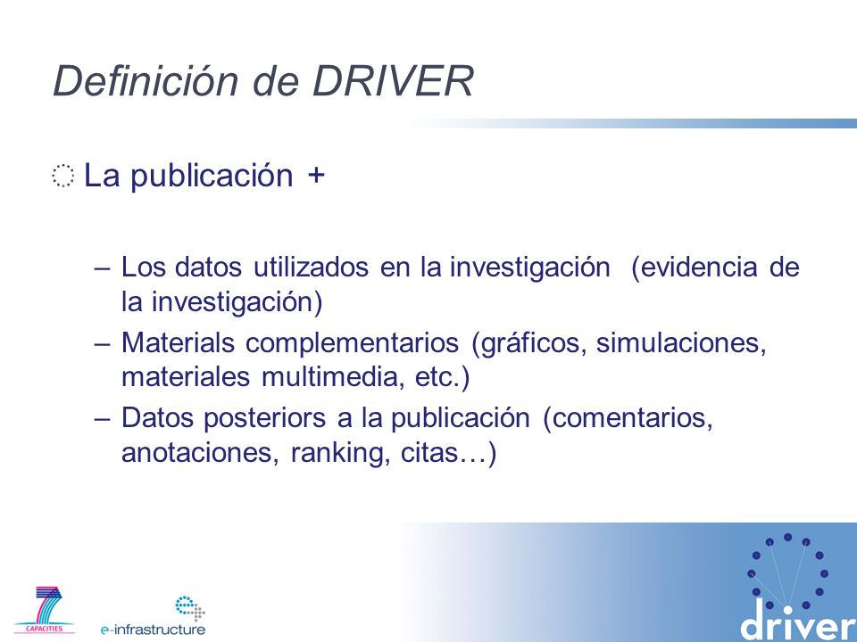 Definición de DRIVER La publicación +