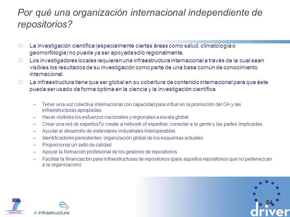 Por qué una organización internacional independiente de repositorios