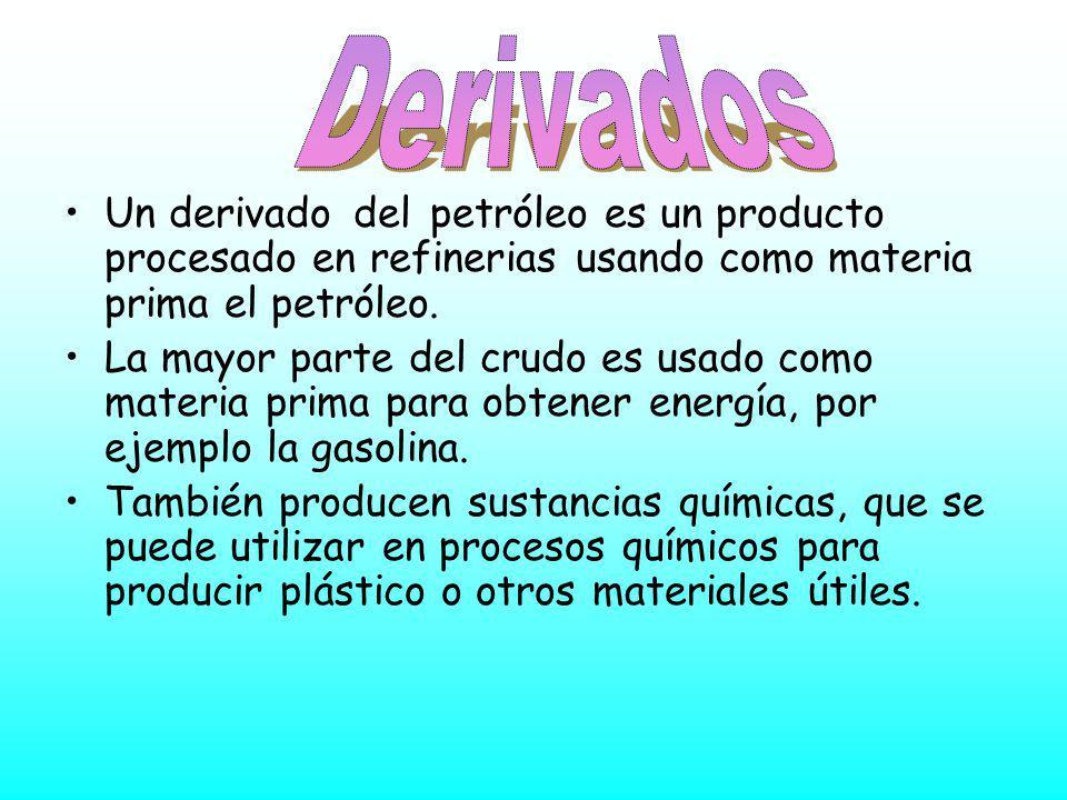 Derivados Un derivado del petróleo es un producto procesado en refinerias usando como materia prima el petróleo.