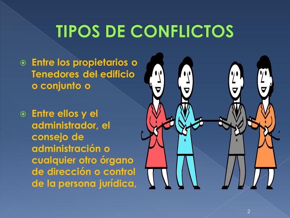 TIPOS DE CONFLICTOSEntre los propietarios o Tenedores del edificio o conjunto o.