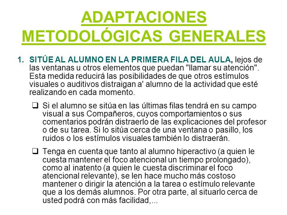 ADAPTACIONES METODOLÓGICAS GENERALES