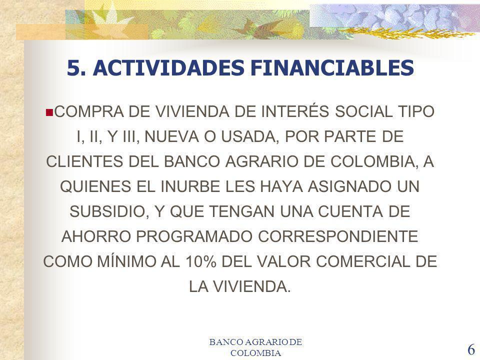 5. ACTIVIDADES FINANCIABLES