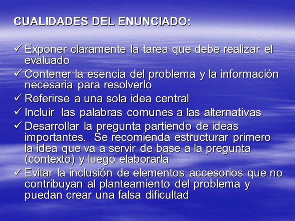 CUALIDADES DEL ENUNCIADO: