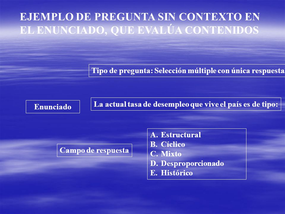 EJEMPLO DE PREGUNTA SIN CONTEXTO EN EL ENUNCIADO, QUE EVALÚA CONTENIDOS