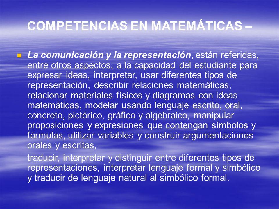 COMPETENCIAS EN MATEMÁTICAS –