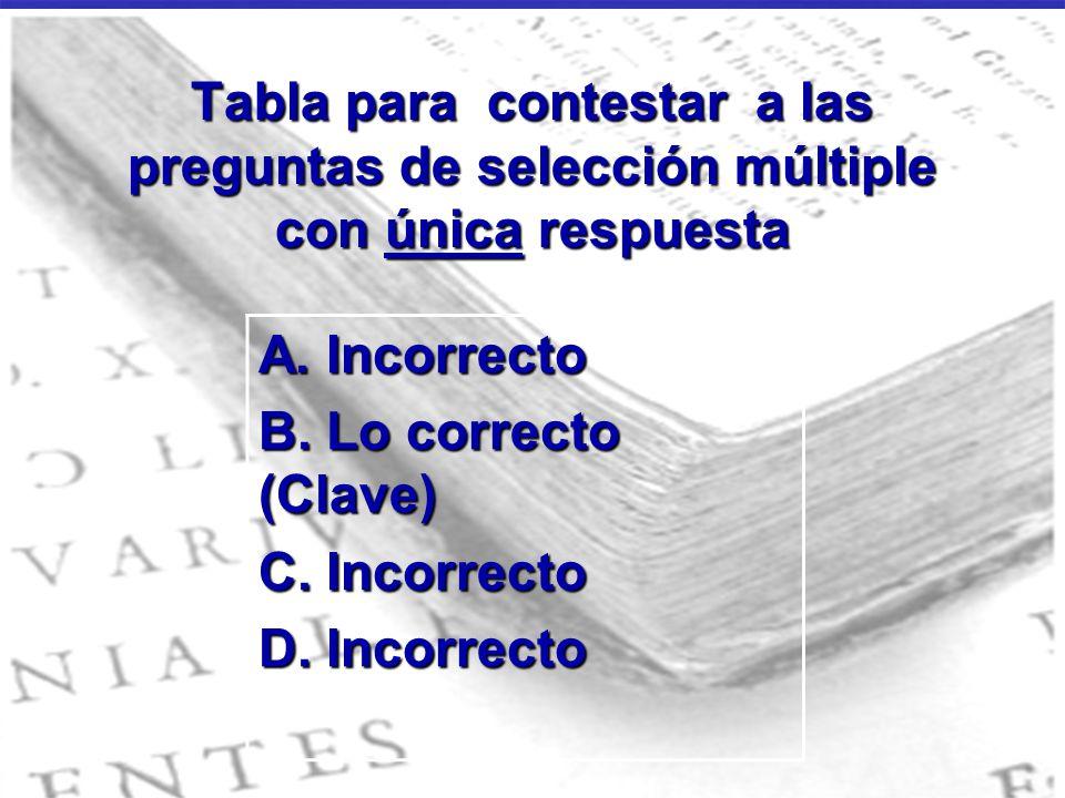 Tabla para contestar a las preguntas de selección múltiple con única respuesta